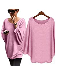 Changeshopping Women Oversized Batwing Knitted Pullover Loose Sweater