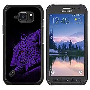 TECHCASE---Cubierta de la caja de protección para la piel dura ** Samsung Galaxy S6 Active G890A ** --Leopard Spots Gato Moonlight Big Wild Azul