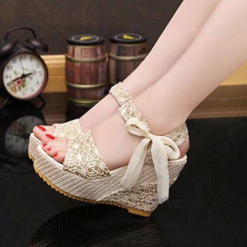 Haut Plateformes Flip Peep Abricot Talon Semelle Sandales Flops Elégant Chaussons Toe Femme Tongs Compensée Chaussures Minetom 7xYqEUvw1