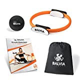 Balvia Fitness Pilates Yoga Ring Equipment Bundle with Non-Slip Grip Handles - Carrying Bag, Massage Ball and Exercise E-book Included - Premium Full Body Toning Fitness Circle