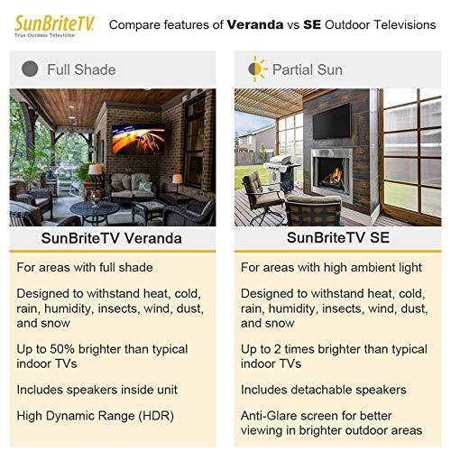 4K UltraHD LED TV for Permanent Outside Installation SB-SE-43-4K-BL SunBriteTV SE 43-Inch Weatherproof Outdoor Television