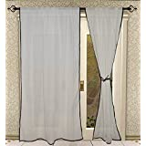 Rod Pocket Black Piping Cotton White Curtain Panels For Door