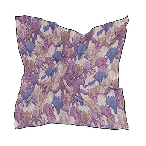 Women's Soft Polyester Silk Square Scarf Purple Iris Flower Spring Romantic Hand-painted Art Embroidery Fashion Print Head & Hair Scarf Neckerchief Accessory-23.6x23.6 Inch