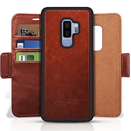 Newseego Galaxy S9 Plus Leather Case,Wallet Case [Detachable 2 in 1 Wallet Folio] [Premium Vegan Leather] 2-Way Stand Flip Folding Slim Cover With Gift Box Package for Galaxy S9 Plus-(Brown)