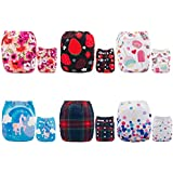 ALVABABY Pocket Cloth Diapers Reusable Washable Adjustable for Baby Boys and Girls,6 Pack with 12 Inserts 6DM42