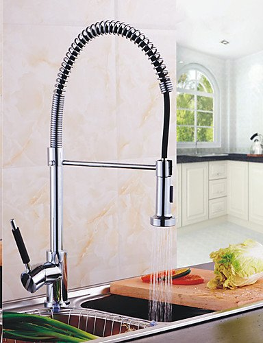 NWMTF 0.5 Deck Mounted Single Handle Spring Pull Down Kitchen Faucet Solid Brass Chrome Finish Pull Out Sprayer Mixer Tap K40CF16