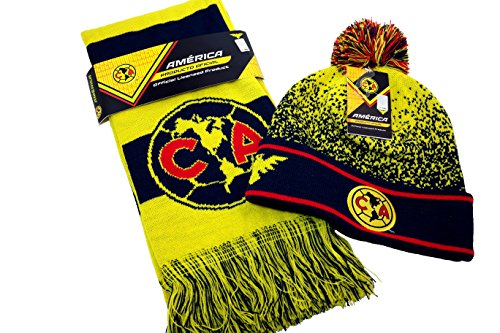Club Soccer Scarf - CA Club America Authentic Official Licensed Product Soccer Beanie & Scarf Combo - 003