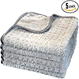 (5-Pack) THE RAG COMPANY 16 in. x 16 in. PLATINUM PLUFFLE Professional Korean 70/30 400gsm Plush Waffle Microfiber Detailing Towels