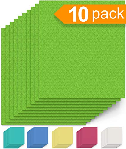 - Swedish Dishcloth Cellulose Sponge Cloths - Bulk 10 Pack of Eco-Friendly No Odor Reusable Cleaning Cloths for Kitchen - Absorbent Dish Cloth Hand Towel (10 Dishcloths - Lime Green)