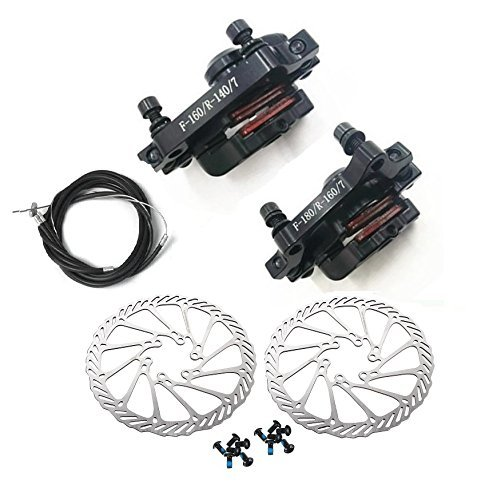 BlueSunshine MTB BB7 Mechanical Disc Brake Front and Rear 160mm whit Bolts and Cable -
