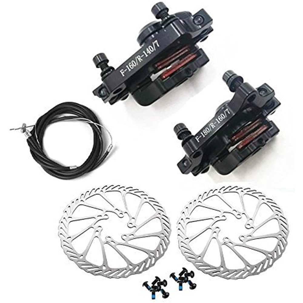 MTB Disc Brake Sets BB7 Mechanical Front And Rear 160mm Whit Bolts Cable