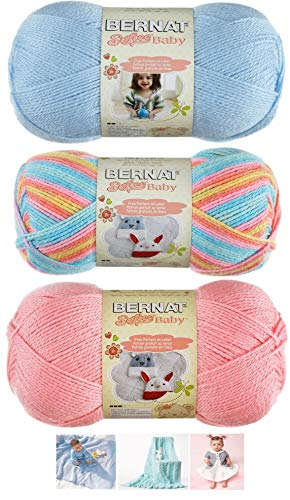 Bernat Softee Baby Acrylic Yarn 3 Pack Bundle Includes 3 Patterns DK Light Worsted #3 (Candy Baby Mix)