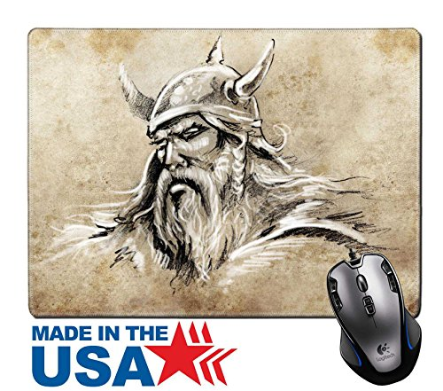 """MSD Natural Rubber Mouse Pad/Mat with Stitched Edges 9.8"""" x 7.9"""" Tattoo sketch handmade design over vintage paper IMAGE (Anger Costume Ideas)"""