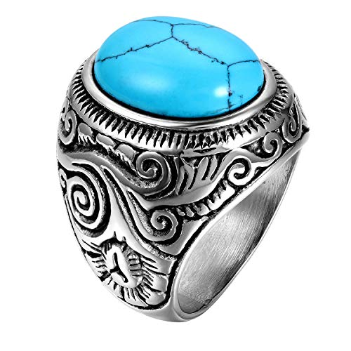 (Stainless Steel Mens Ring Band, Classic Turquoise Inlaid for Biker, Size 15)