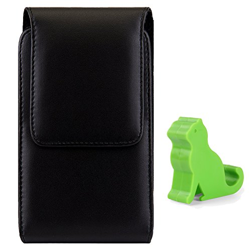 Black PU Leather Belt Clip Holster for ZTE Axon 7S / Blade Spark / V7 Plus / Max 3 / A602 / X Max / Max 3 / A2 Plus / V8 Pro / Max XL / Nubia N2 M2 Z17 / ZMax Champ / V870 / Hawkeye + Mini Stand (Hawkeye Belt)