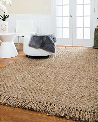 NaturalAreaRugs Chatsworth Natural Jute Area Rug, Handwoven, Durable, (6 Feet x 9 Feet) Rug Pad Included by NaturalAreaRugs