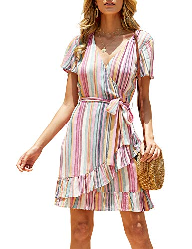 imesrun Womens Wrap V Neck Dress Rainbow Stripes Loose Casual Ruffle A-line Beach Swing Dress Wine Small