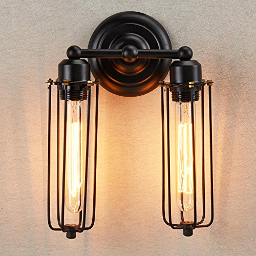 Ecopower Vintage 2-lights Simplicity Industrial Mini Cage Wall Sconces