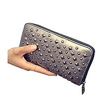 DSW Cool Rivet PU Leather Zipper Zip Around Wallet for Women