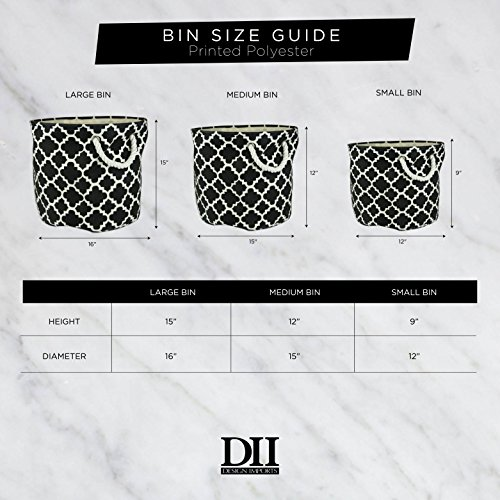 """DII Collapsible Burlap Storage Basket or Bin with Durable Cotton Handles, Home Organizational Solution for Office, Bedroom, Closet, Toys, & Laundry (Large Round – 16x15""""), Wine Border by DII (Image #4)"""