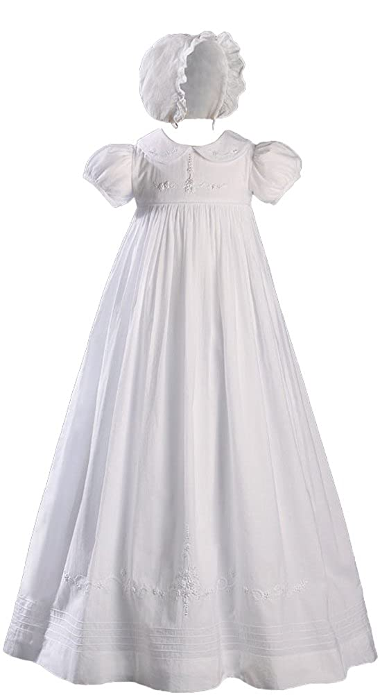 Image of Hand Embroidered 33' Short Sleeve Heirloom Christening Gown w/Shadow Embroidery