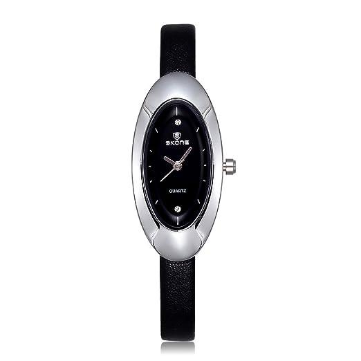 Los relojes de las mujeres de los relojes para mujer Skone diamantes de imitación de forma ovalada con esfera de color negro de cuero de la venda: ...