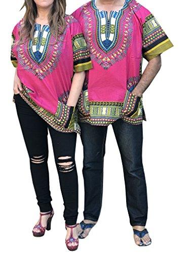 (African Men Women Dashiki Shirt Top Blouse Hippie Tribal Caftan with two pockets)