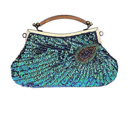Luckywe Pochette de de perles Paon à main Bleu Sac en soirée clutch mode enveloppe Femme élégant pour O6q5rxw76