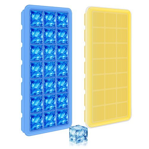 Adoric 2 Pack Easy Release Silicone Ice Cube Trays with Lids, 21 Shaped Cubes Each with Cover, Easy Release Rubber Ice Block Molds for Whisky, Cocktail, Bourbon (Blue & Yellow)