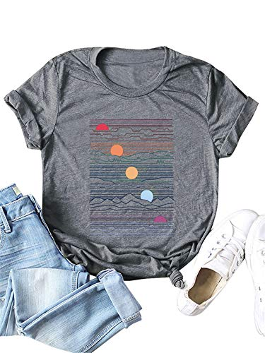 Festnight Fashion Women T-Shirts Printing, Women's Cute T Shirt Junior Tops Teen Girls Graphic Tees Light Grey