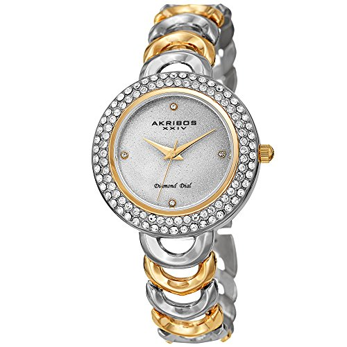 Multi Gemstone Watch (Akribos XXIV Women's Watch – Crystal Studded Bezel, Glitter Dial Diamond Markers, Gold and Silver Two Tone Stainless Steel Link Bracelet - AK1050TTG)