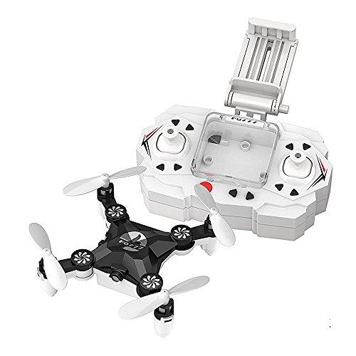 FQ777 FQ11W Mini Micro Drone Plegable Pocket con cámara de 0.3MP WIFI FPV Modo sin cabeza Una llave para devolver el rollo 3D Tomar foto Grabar vídeo Quadcopter (Negro)