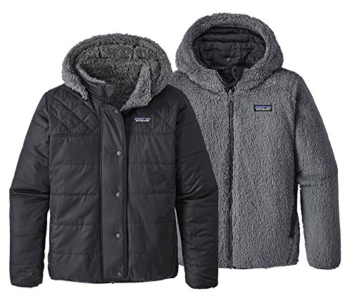Patagonia Girls' Dream Song Hooded Reversible Jacket (L, Black)
