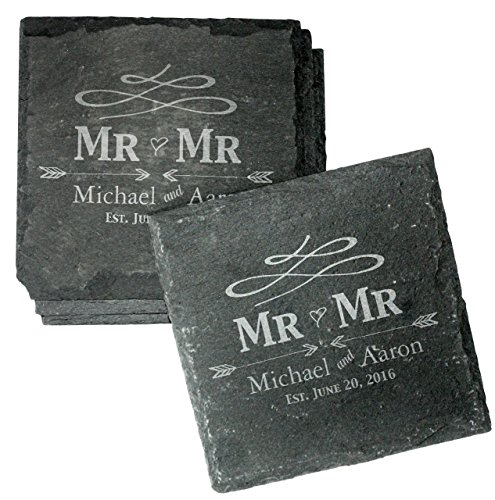 Engraved Personalized Gay Wedding Coasters - Set of 4 Drink Coasters for Wedding Favors, Engagement Gift, Mr and Mr Gifts - CSL31