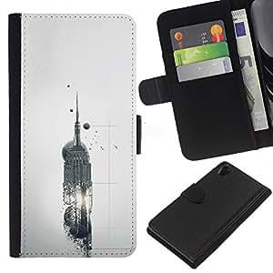 EJOY---La carpeta del tirón la caja de cuero de alta calidad de la PU Caso protector / Sony Xperia Z2 D6502 / --Empire State Building Abstract Sci Fi