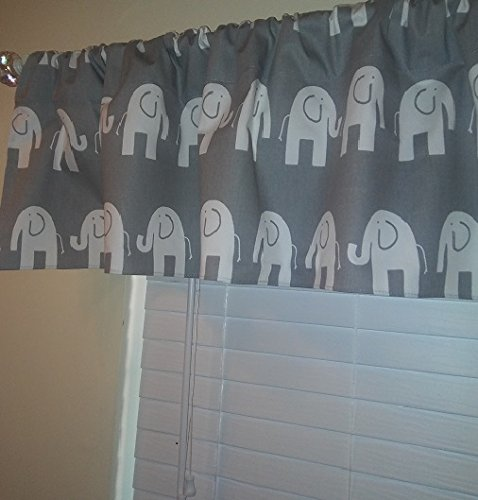 "Grey with white Elephant Valance Curtain, Girl or boy Baby Nursery window treatment. Children, room home decor. 54"" zoo safari from Home Touch Decor"