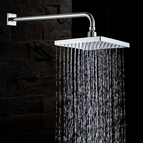 JOMOO Square Rainfall Shower Head With 8.66 Inch Face High Pressure ShowerHead With Extension Arm Wall Mounted Overhead Water Saving Waterfall Raincan Shower,Premium - Circle St Armens