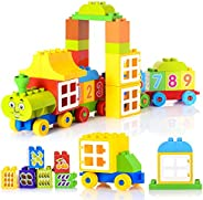 Large Building Blocks for Toddlers, 60 Pieces Building Bricks Building Toy Set with Cargo Train Construction,