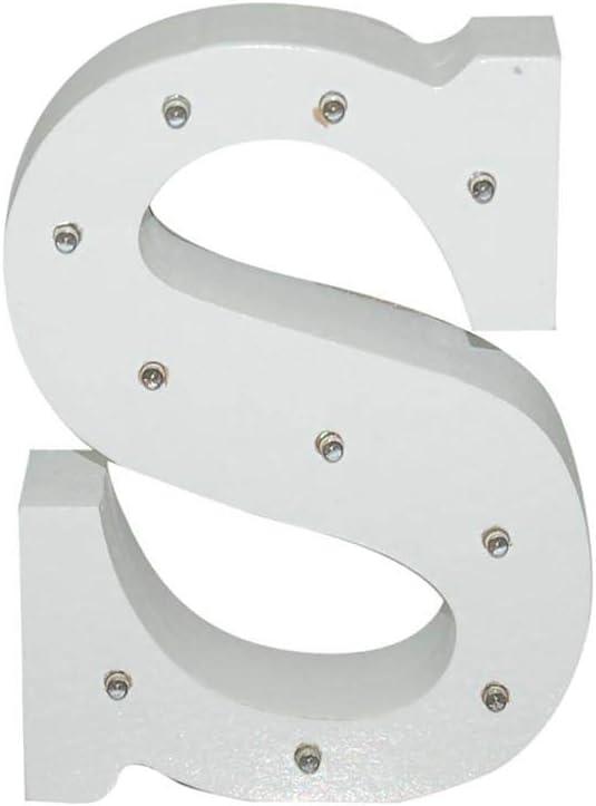 Letra blanca decorativa con luz LED blanca (madera) (S)