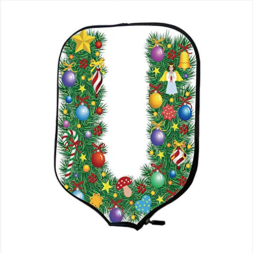 (Neoprene Pickleball Paddle Racket Cover Case,Letter U,Candy Canes Mushrooms Angel Figure on Xmas Tree Seasonal Composition and Letter U Decorative,Multicolor,Fit For Most Rackets - Protect Your Paddle)