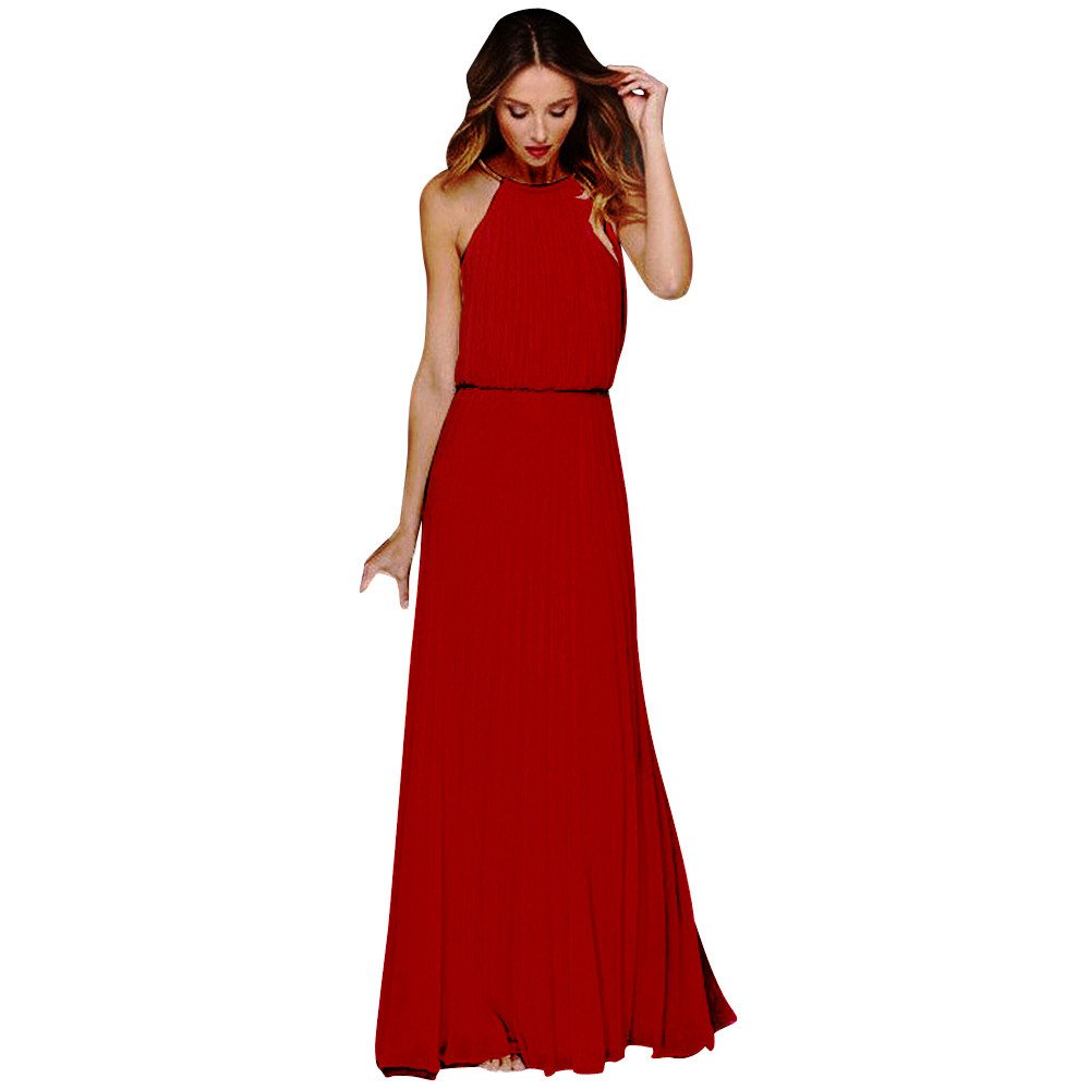 Scaling❤ Women Dress for Party, Women Summer Chiffon Halter Maxi Dress Elegant Sleeveless Long Dress