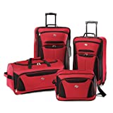 American Tourister Luggage Fieldbrook II 4 Piece Set, Red/Black, One Size