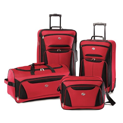 Suitcase Set (American Tourister Luggage Fieldbrook II 4 Piece Set, Red/Black, One Size)