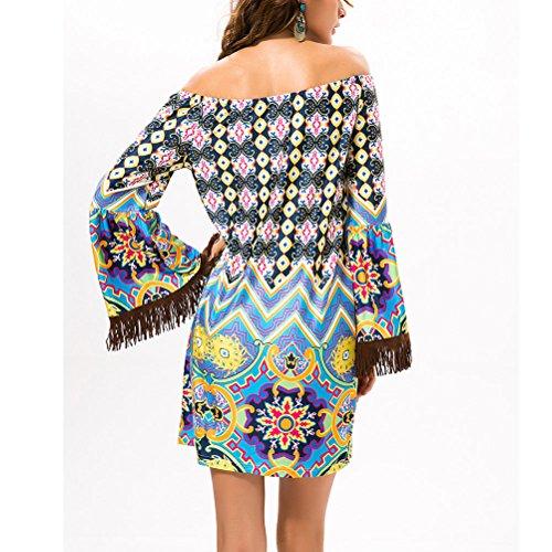 Zhhlinyuan Fashion Off Shoulder Mujeres Casual Dresses Summer Beach Colorful Chiffon Dress Green
