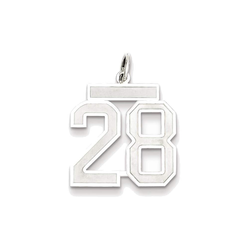 スターリングシルバー ミディアム サテン ナンバー 28 チャーム   B07HKP16TB