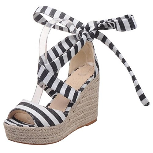 RAZAMAZA Mujer Moda Bohemian Cordones Sandalias Tacon de Cuna Peep Toe Zapatos Negro