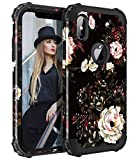 Lontect Compatible iPhone XS Case Floral Design Heavy Duty Hybrid Sturdy Armor Defender High Impact Shockproof Protective Cover Case for Apple iPhone XS/iPhone X w/ 5.8'' OLED Display, Flower/Black