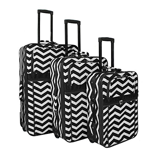 World Traveler Chevron Expandable Upright Luggage Set, Black White