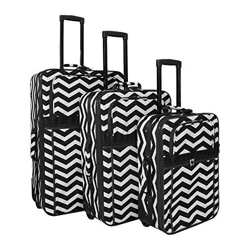 World Traveler Chevron Expandable Upright Luggage Set, Black White Chevron