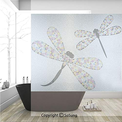 y Window Films,Butterfly Dragonflies with Colorful Alluring Wings and Black Bodies Print,No-Glue Self Static Cling Glass Film for Home Bedroom Bathroom Kitchen Office 36x36 Inch ()